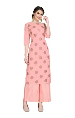 Pink printed art silk party-wear-kurtis