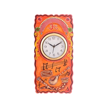 Musical Instruments Embossed Coloful Wooden Handcrafted Wooden Wall Clock (H - 19Inch)