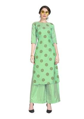 Green printed art silk party-wear-kurtis