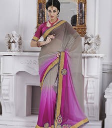 Grey and Pink embroidered chiffon saree with blouse