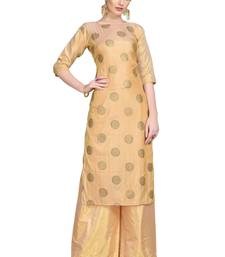 Peach printed art silk party-wear-kurtis
