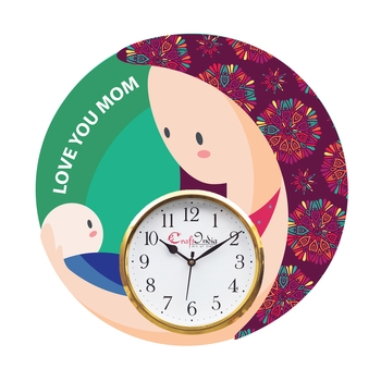Love You Mom Theme Wooden Colorful Round Wall Clock