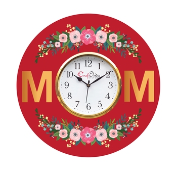 Mom and Mother Theme Wooden Colorful Round Wall Clock
