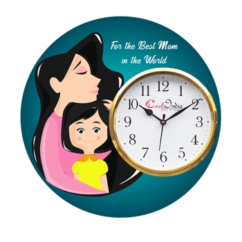 Best Mom in the World Theme Wooden Colorful Round Wall Clock