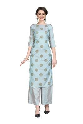Blue printed art silk party-wear-kurtis