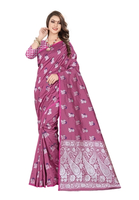 Purple embroidered banarasi silk saree with blouse