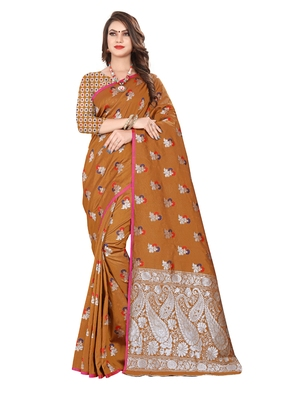 Brown embroidered banarasi silk saree with blouse