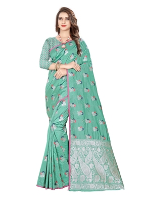Sea green embroidered banarasi silk saree with blouse