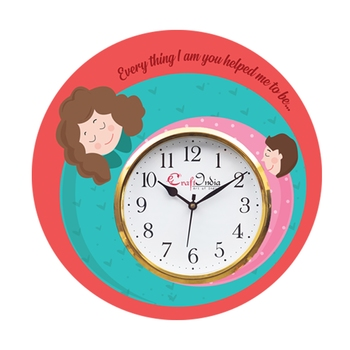 Mother Dauthter Relationship Theme Wooden Colorful Round Wall Clock