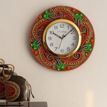Lavish Artistic Design Papier-Mache Wooden Handcrafted Wall Clock