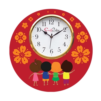 Friendship Theme Wooden Colorful Round Wall Clock