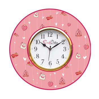 Valentine Love Gift and Heart Theme Wooden Colorful Round Wall Clock