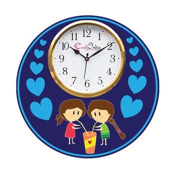 Friends Love Theme Wooden Colorful Round Wall Clock