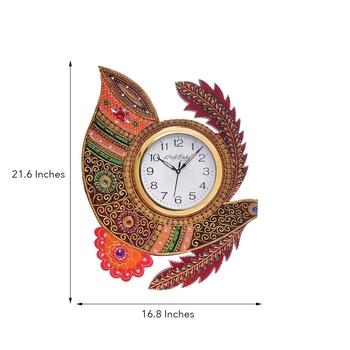 Shehnai Shape Papier-Mache Wooden Handcrafted Wall Clock