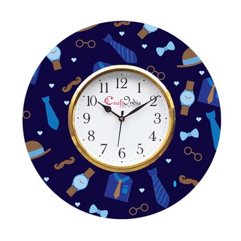Love Gift with Tie, Specs, Watch and Moustache Theme Wooden Colorful Round Wall Clock