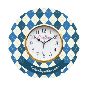 Gift to Men Theme Wooden Colorful Round Wall Clock