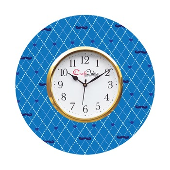 Moustache and Love Theme Wooden Colorful Round Wall Clock