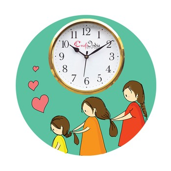 Mother Daughter Love Theme Wooden Colorful Round Wall Clock