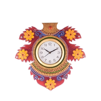 Floral Lead Shape Wooden Handcrafted Wooden Wall Clock (H - 15.5 Inch)