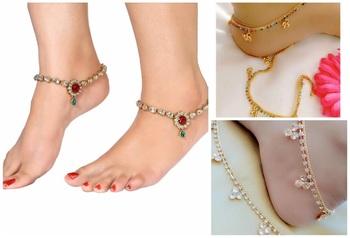 Multicolor diamond anklets