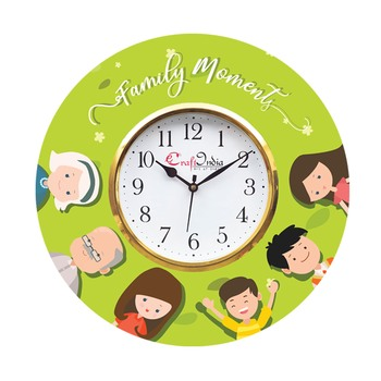 Family Moments Theme Wooden Colorful Round Wall Clock