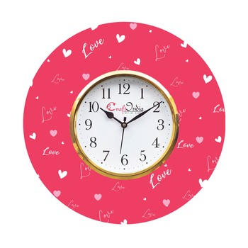 Valentine Love Design Wooden Colorful Round Wall Clock
