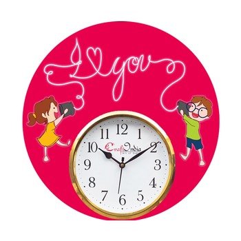 Brother Sister Theme Wooden Colorful Round Wall Clock