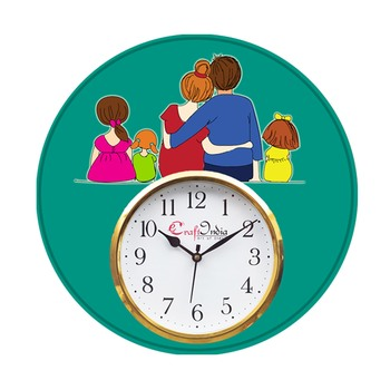 Family Theme Wooden Colorful Round Wall Clock