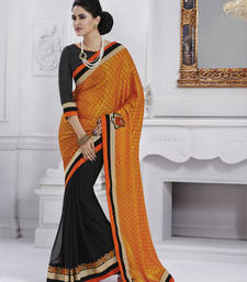 Buy Orange embroidered jacquard saree with blouse party-wear-saree online