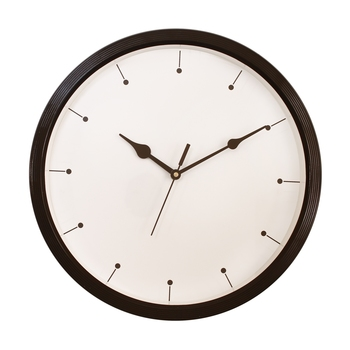 Round Designer Plastic Quartz analog wall clock (Black32 x 32 cm)