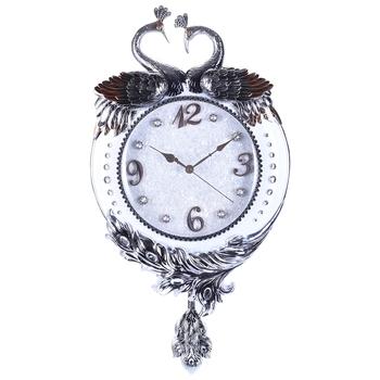 Silver Pendulum Designer Wall Clock( 41 cm X 78 cm)
