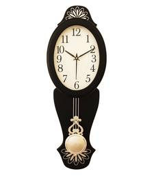 Black vertical wooden analog wall clock(21 cm x 7 cm)