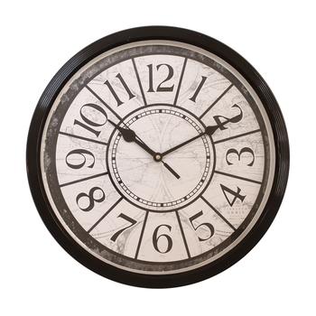 Round Antique look Plastic Quartz analog wall clock (Black 32 x 32 cm)