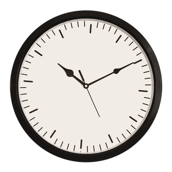 Round Designer Plastic Quartz analog wall clock (Black 32 x 32 cm)
