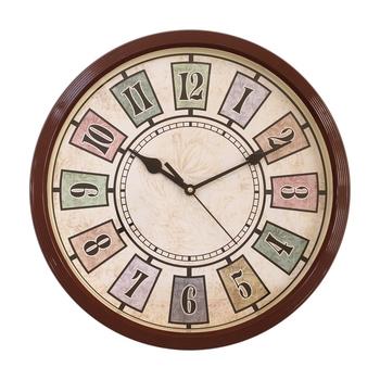 Round Antique look Plastic Quartz analog wall clock (Brown 32 x 32 cm)