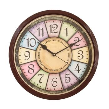 Round Antique look Plastic Quartz analog wall clock (Light Brown 32 x 32 cm)