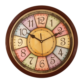 Round Antique look Plastic Quartz analog wall clock (Brown 32 x 32 cm)