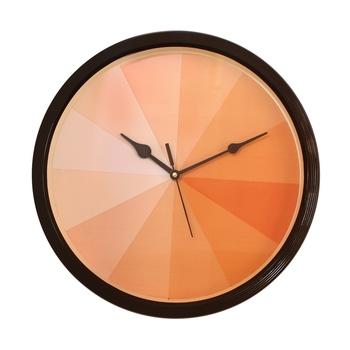Round Designer Plastic Quartz analog wall clock (Black 32 x 32 cm)