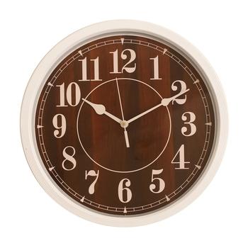 Round Designer Plastic Quartz analog wall clock (White 32 x 32 cm)