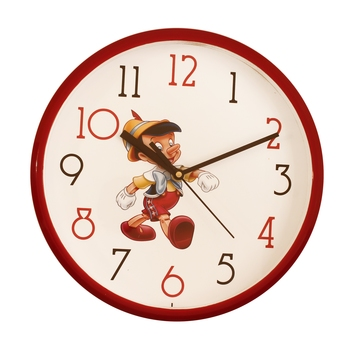 Round Kid's Collection Plastic Quartz analog wall clock (Red 25 x 25 cm)