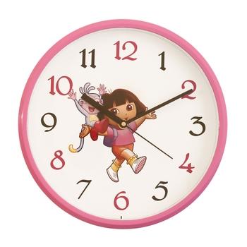 Round Kid's Collection Plastic Quartz analog wall clock (Pink 25 x 25 cm)