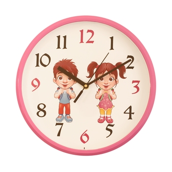 Round Kid's Collection Plastic Quartz analog wall clock (Pink 25 x 25 cm)