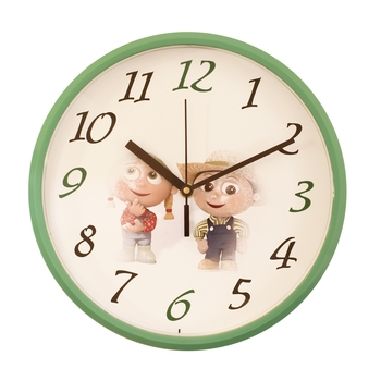 Round Kid's Collection Plastic Quartz analog wall clock (Green 25 x 25 cm)