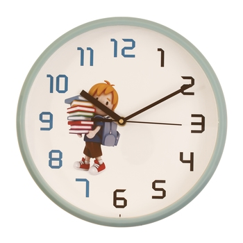 Round Kid's Collection Plastic Quartz analog wall clock (Sky Blue 25 x 25 cm)