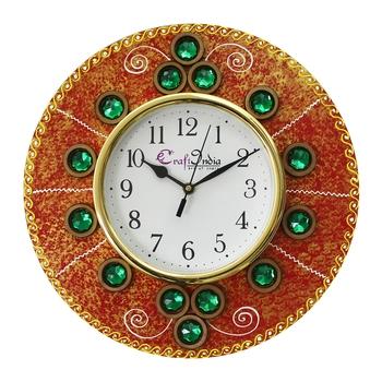 Handcrafted Antique Design Papier-Mache Wooden Wall Clock