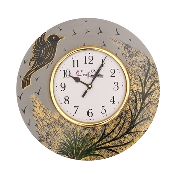 Handcrafted Bird Theme Round Wooden Wall Clock