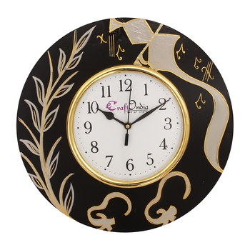 Handcrafted Ethnic Theme Round Wooden Wall Clock