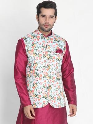 Green plain silk blend nehru-jacket