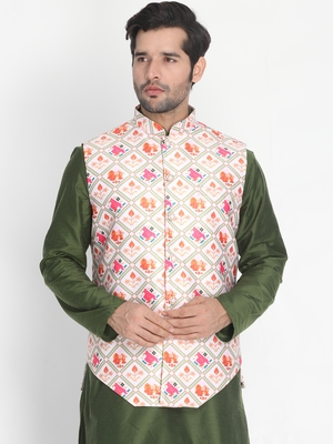 Multicolor plain silk blend nehru-jacket
