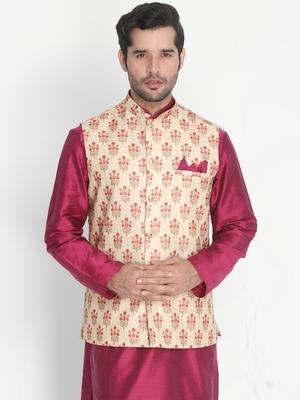 Gold woven silk blend nehru-jacket